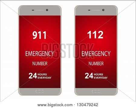 Smartphone mobile phone with emergency number isolated on white mock up vector illustration.
