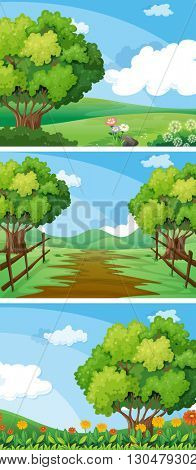 Three scenes of countryside with trees and tracks illustration