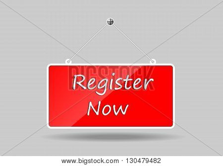 Red banners hung register Now. vector illustration.
