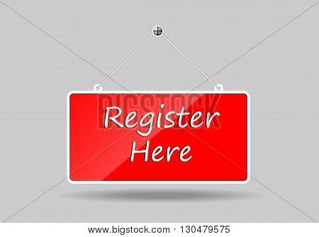 Red banners hung register here. vector illustration.