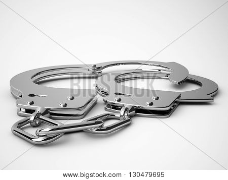 3D rendering of handcuffs with clipping path