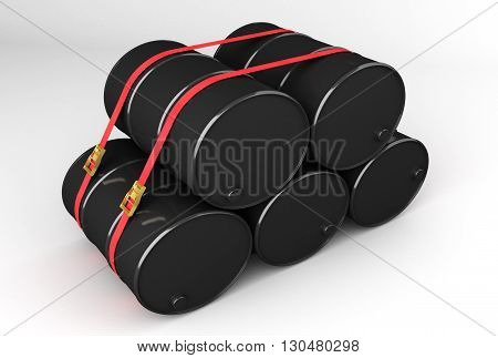 3D rendering of barrels of natural resources ready for dispatch