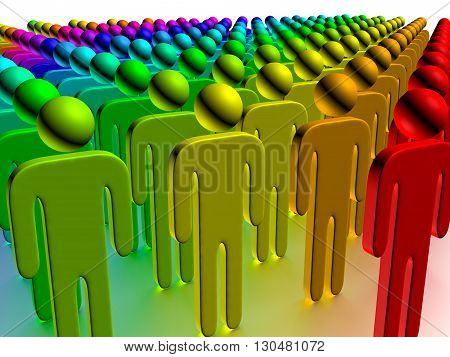 3D illustration Group of the varicoloured people