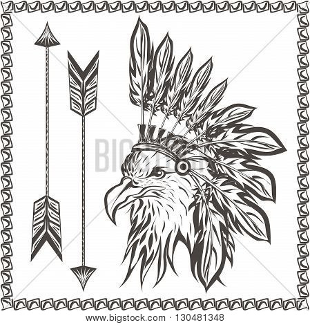 American Eagle in ethnic Indian headdress with feathers and arrows. In graphic stencil style. Totem animal. Vector illustration
