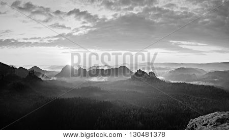 The Deep Misty Valley In Popular Saxony Switzerland Park. Sharp Peaks Increased From Foggy Backgroun