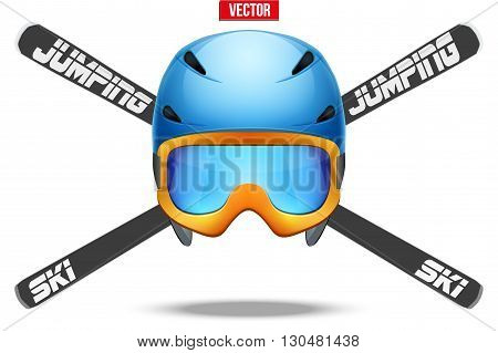 Ski jumping Symbol. Badges and labels. of helmet and ski.  Vector Illustration isolated on background.
