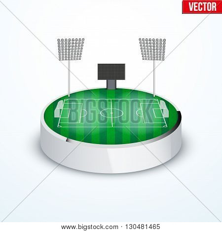 Concept of miniature round tabletop football soccer stadium. In three-dimensional space. Vector illustration isolated on background.