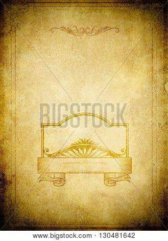 Grunge paper baxkground with decorative vintage frame.