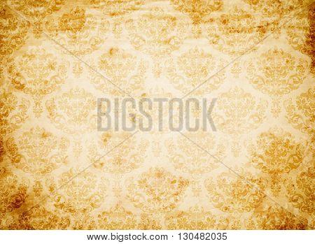 Old dirty paper background and old-fashioned floral patterns. Vintage floral paper design.