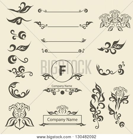 Set of Vintage Decorations Elements arabesque. Flourishes Calligraphic Ornaments and Frames. Retro Style Design Collection for Invitations, Banners, Posters, Placards, Badges and Logotypes.