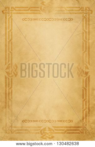Old grunge paper background with decorative celtic frame.
