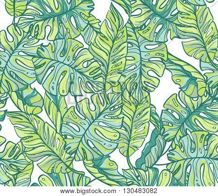 Exotic leaves rainforest. Seamless hand drawn pattern. Vector background.