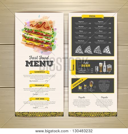 Vintage chalk drawing fast food menu design. Sandwich sketch corporate identity
