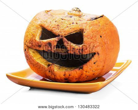 rotten pumpkin lantern jack isolated on white background
