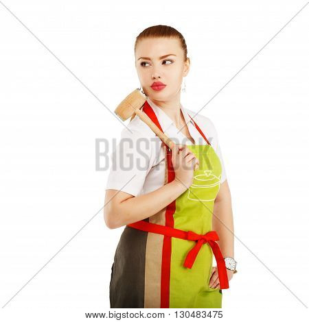 Sexy Housewife Or Baker Chef Wearing Kitchen Apron Holds Meat Hammer