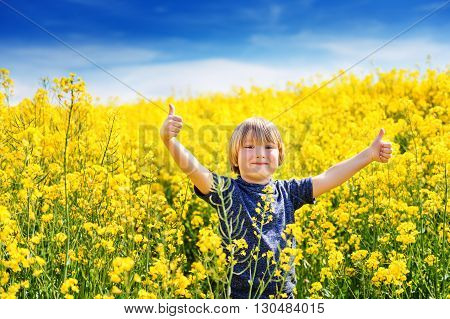 Outdoor portrait of a cute little boy playing with flowers in a countryside