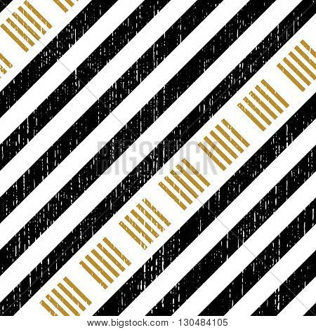 Seamless Square and Stripe Pattern. Abstract Black and Gold Background. Vector Regular Texture