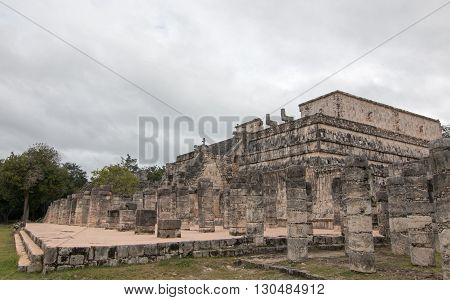 Templo de los Guerreros (Temple of the Warriors) at Chichen Itza Mayan Ruins on Mexico's Yucatan Peninsula