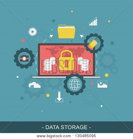 Data storage flat vector illustration. Editable vector design for website banner or promotion materials.