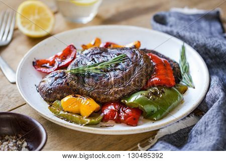 Grilled Portobello mushroom Bell peppers with Balsamic and Rosemary