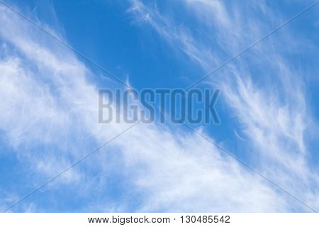 Cirrus Clouds In Blue Sky, Natural Background Photo