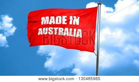 Made in australia, 3D rendering, a red waving flag