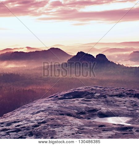 Kleiner Winterberg View. Fantastic Dreamy Sunrise On The Top Of The Rocky Mountain With The View Int