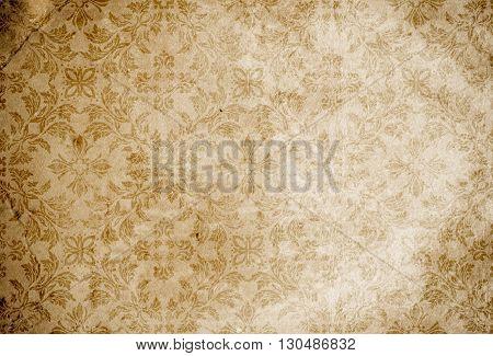 Grunge paper background with vintage floral patterns. Ornamental vintage paper.