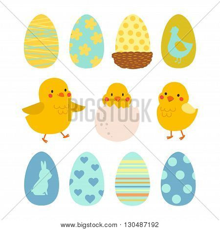 Happy Easter design elements set with cute chicks and eggs. Illustration for design card of the Easter scrapbook or party. Eggs with ornaments. Set of vector illustration of chicken. Isolated