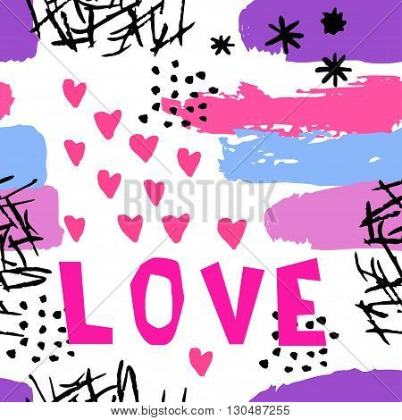Love fabric pattern. Abstract pattern in Memphis style. Retro design style in 80s 90s with ink texture. Lettering love and hearts. Fabric seamless pattern in pop style