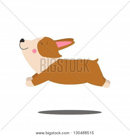 Illustration of cute dog Welsh Corgi. Nice puppy for greeting card pet shop or veterinary clinics. Dog of breed Welsh Corgi. Vector dog illustration for greeting card. Dog Welsh Corgi ran