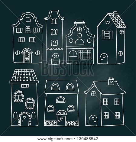 Set of European house. Detached house hand drawn in chalk on a blackboard vector white icon isolated on a black background. Set of hand drawn illustration of houses. Vector set Amsterdam houses