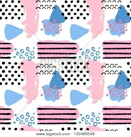 Pattern of retro vintage 80s or 90s style. Memphis abstract seamless pattern background. Memphis style for textile fabric design. Vector illustration. Pop pattern for retro party fabric design