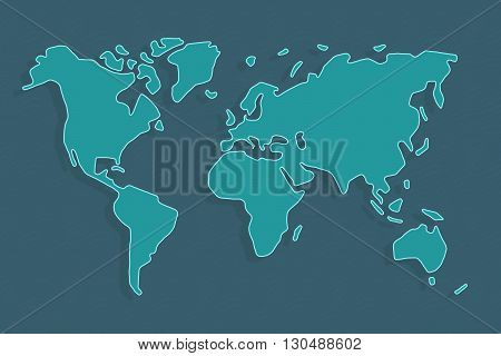 Abstract world map in dark and light turquoise, continents floating with shadows in ocean.