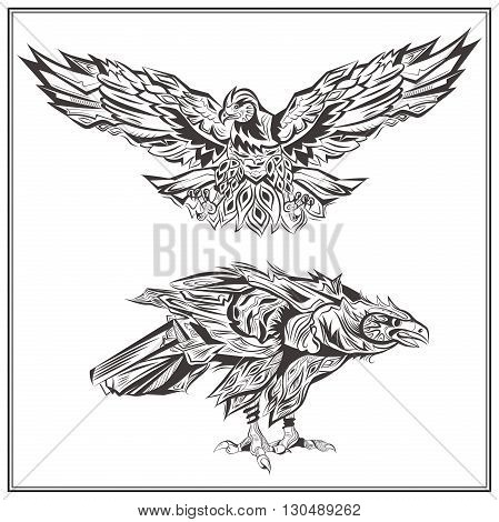 Decorative eagles on a white background. Isolated birds in vintage style for design t-shirts, bags, posters, tattoos. Vector illustration