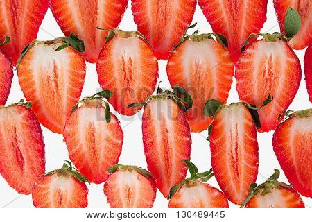 Sliced strawberry. Slices. Strawberry pattern. Macro. Texture. Food background.