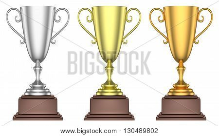 Golden, Silver And Bronze Trophy Cups Isolated