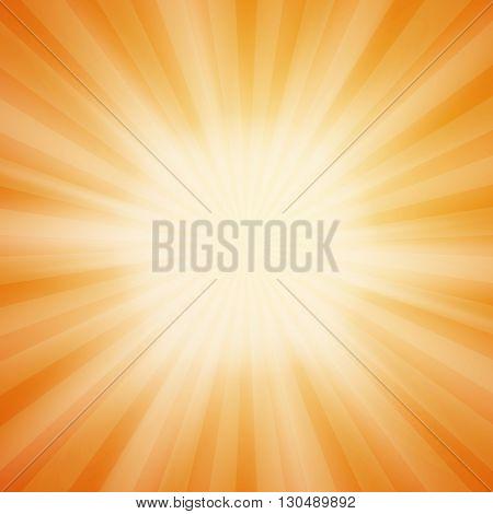 Summer sun burst on orange background with light rays. Summer background. Summer sun rays. Vector illustration.