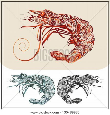 Ornamental prawns on white and brown background. Isolated crustacean in the red, green and black colors. The modern concept  for the booklet, menu. Vector illustration