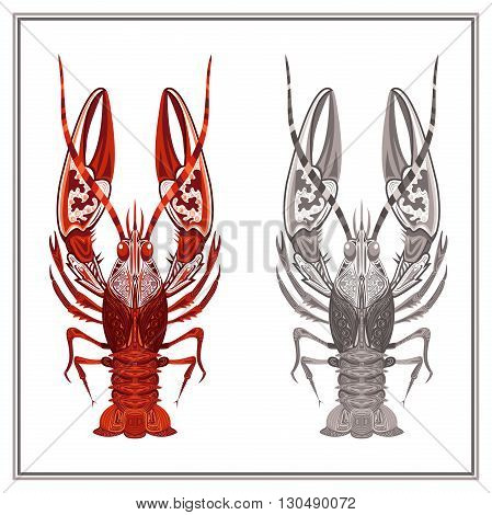 Decorative ornament crayfish on a white background. Isolated crustaceans with red and gray patterns for design menu, t-shirts, bags. Vector illustration