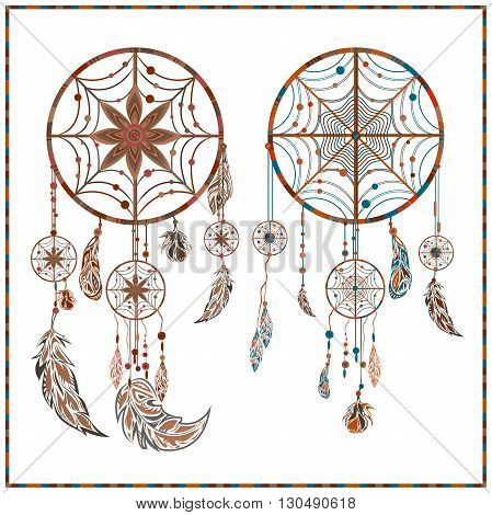 Dream Catcher. Indian ethnic modern design  amulet on a white background. Isolated decorative elements ethnic circles, feathers for design. Vector illustration