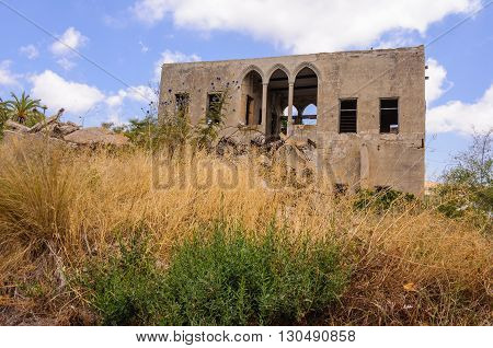 Abandoned, ruined  house:  Remains of the last house in the village Ba'sa that was abandoned in 1948. Galilee,  Israel.