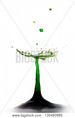 Extreme close-up image of drop collision with abstract look