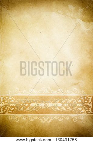 Grunge paper background with vintage border and vignette effect. Natural old paper texture.