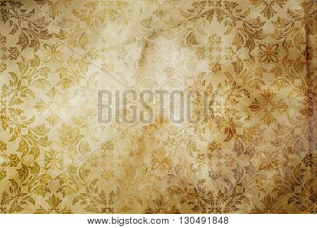 Grunge paper background with old-fashioned floral patterns. Old wallpaper background for the design.