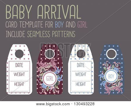 Baby arrival card templates set. Newborn baby birth card.Announcement for kids birthday.For Girl and for Boy. Ready for print.
