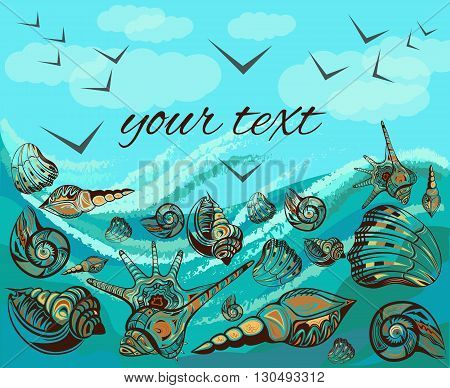 The modern concept of landscape with sea shells. Greeting card with decorative elements of the shells, waves, birds on a blue background of the sky. Vector illustration
