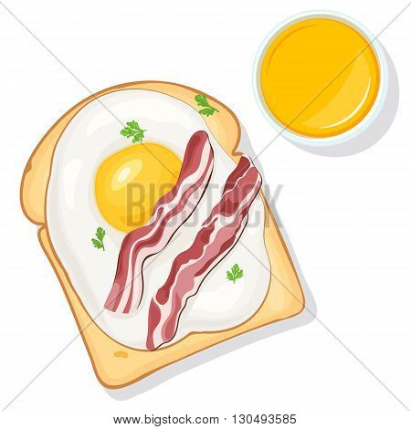 Breakfast food. Toast with eggs, bacon, greens and orange juice top view. Vector illustration for your web design or print brochures