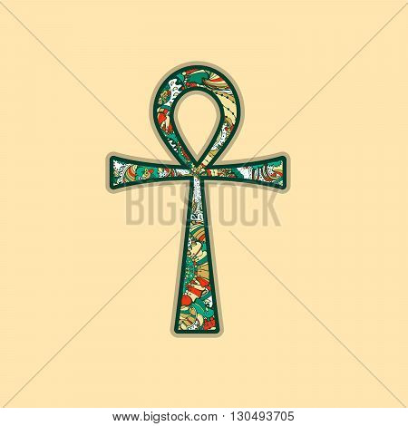 Ankh Symbol. Vector Egyptian Cross with Decorative Zentangle style Ornament