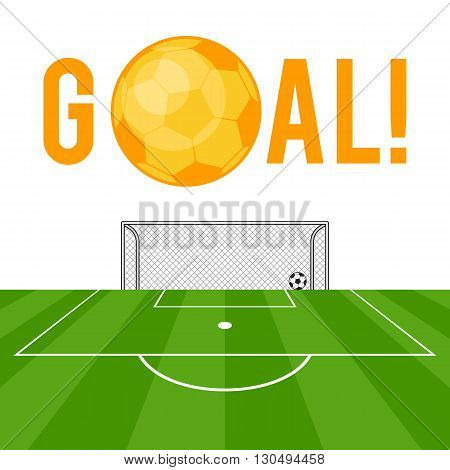 Goal football gold ball soccer design and gates on the field. Vector illustration flat style isolated on white background